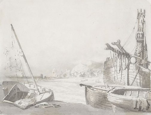 An image of Boats in harbour by attrib. Joseph Mallord William Turner
