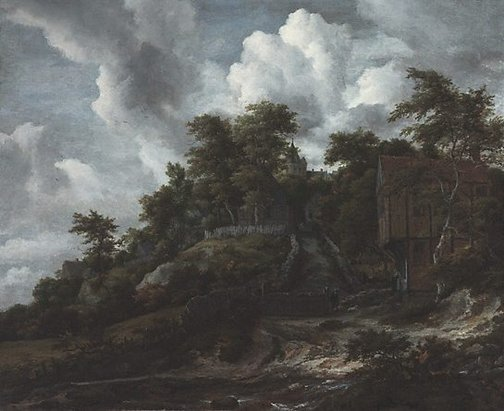 An image of Wooded hillside with a view of Bentheim Castle by Jacob Isaacksz van Ruisdael