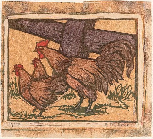 An image of Disturbed fowls by Helen Ogilvie