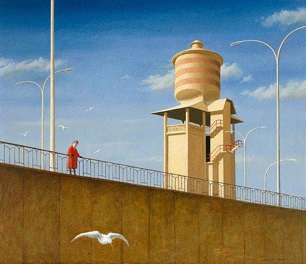 Alma Mahler feeding the birds, (1967-1968),  by Jeffrey Smart