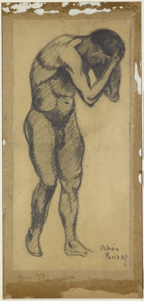 An image of Standing male nude, head in his hands by Desiderius Orban