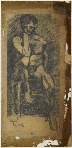 An image of Male nude, seated on a chair by Desiderius Orban