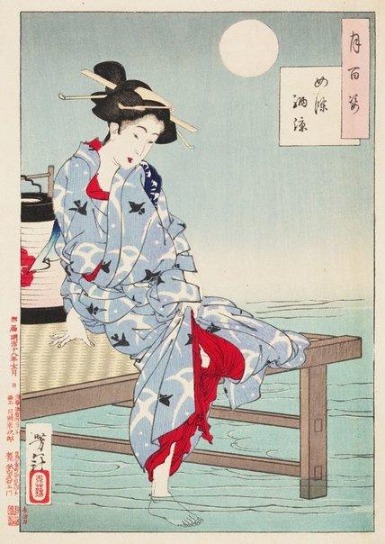 An image of Cooling off at Shijō by Tsukioka Yoshitoshi
