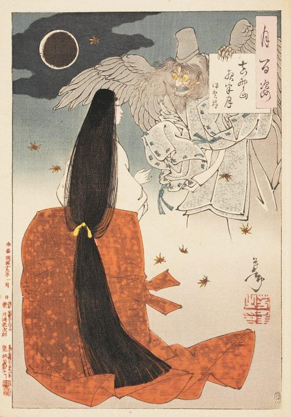 An image of Mount Yoshino midnight-moon - Iga no Tsubone