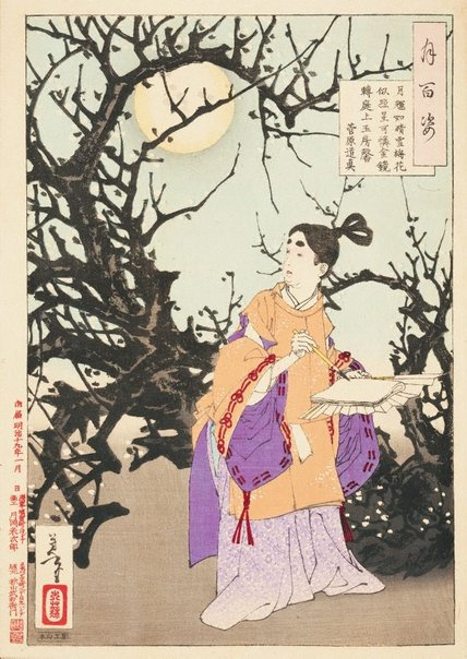 An image of The moon glimmers like bright snow/ and plum blossoms appear like reflected stars/ ah! the golden mirror of the moon passes overhead/ as fragrance from the jade chamber fills the garden - Sugawara no Michizane by Tsukioka Yoshitoshi