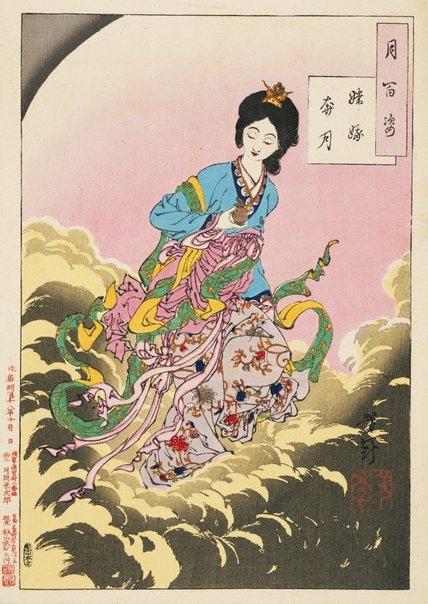 An image of Chang E flees to the moon by Tsukioka Yoshitoshi
