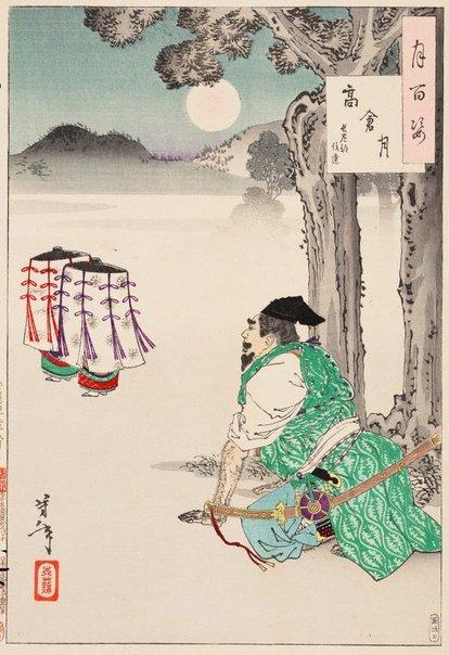 An image of Takakura moon - Hasebe Nobutsura by Tsukioka Yoshitoshi