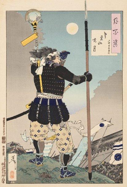 An image of Mount Tobisu dawn moon - Toda Hanbei Shigeyuki by Tsukioka Yoshitoshi
