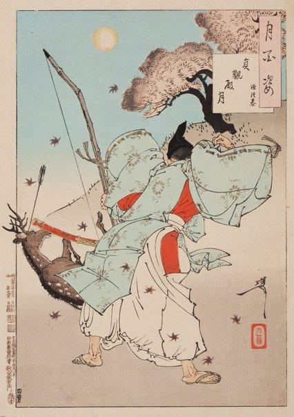 An image of Jōganden moon - Minamoto no Tsunemoto by Tsukioka Yoshitoshi