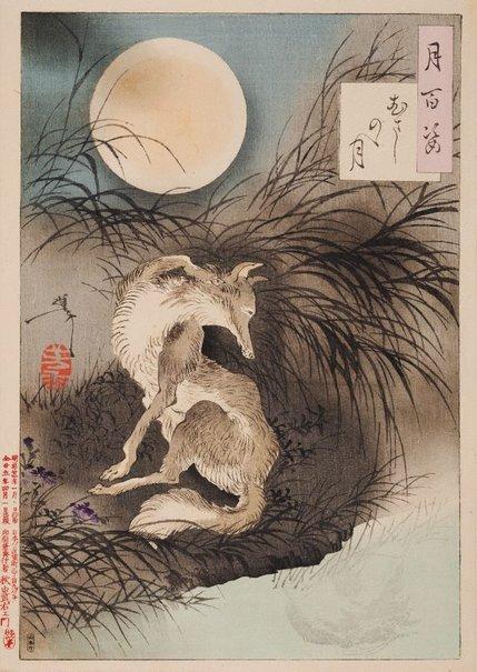 An image of Musashi Plain moon by Tsukioka Yoshitoshi