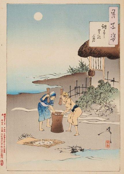 An image of Chōfu village moon by Tsukioka Yoshitoshi