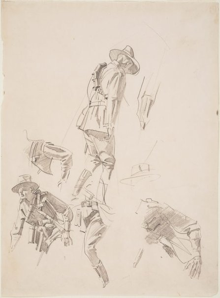 An image of (Sheet of studies of a soldier) by George W Lambert