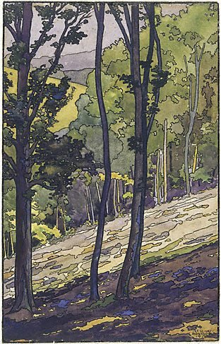 An image of Surrey woodland by Cecil Bostock
