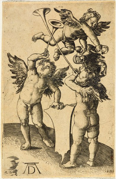 An image of Three putti with shield and helmet by Jerome Wierix, Anthonie Wierix, after Albrecht Dürer