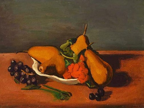 An image of Still life with pears and grapes by Bernard Meninsky