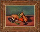Alternate image of Still life with pears and grapes by Bernard Meninsky