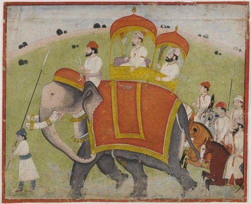 An image of Raja on elephant by