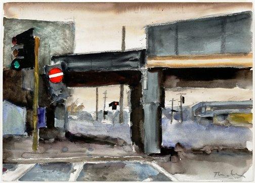 An image of Study for 'Bridge' by Albert Tucker