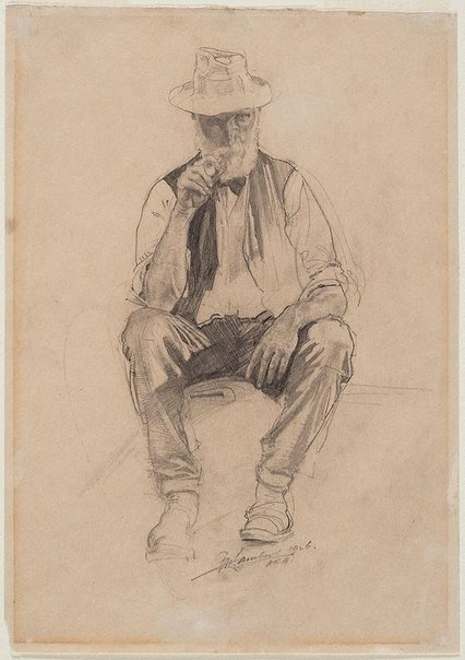 An image of Old man with pipe by George W Lambert