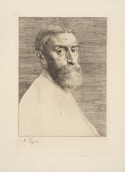 An image of Portrait of EJ Poynter, painter by Alphonse Legros