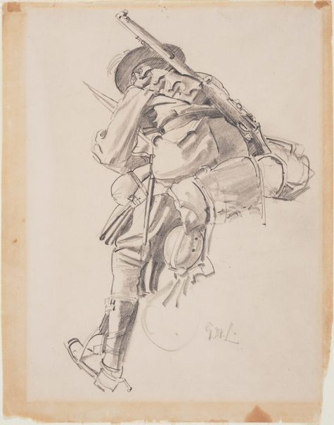 An image of A study of a trooper on horseback in full riding orders, for 'The Charge of the 4th Light Horse Brigade at Beersheba' by George W Lambert