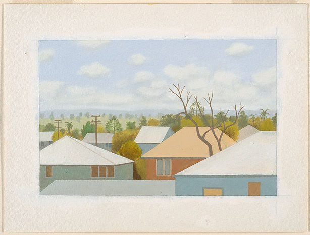 AGNSW collection Chris O'Doherty View of Ballina from hotel window (1982) 262.1986