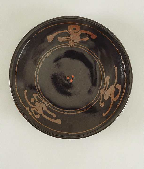 An image of Plate with tenmoku glaze and iron glaze decoration with three red dots