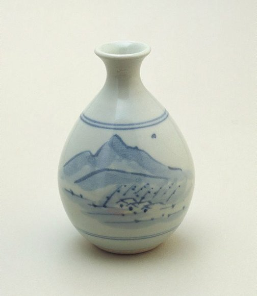 An image of Small bottle decorated with underglaze blue landscape by Shiga Shigeo