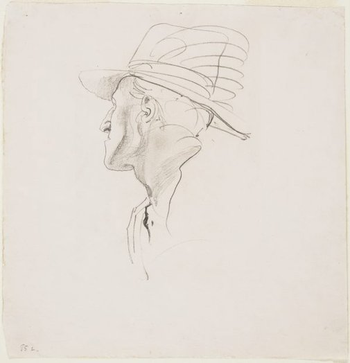 An image of Head study of soldier for 'The Charge of the 4th Light Horse Brigade at Beersheba' by George W Lambert