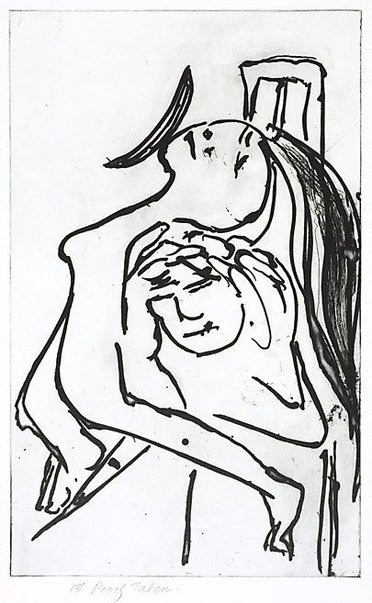 An image of Lovers and moon by Arthur Boyd