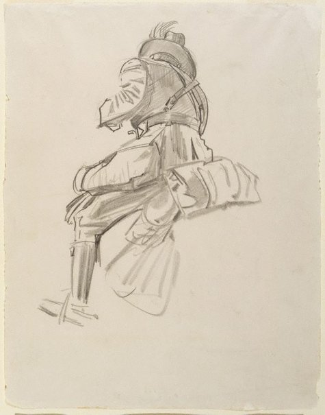 An image of Study of soldier for 'The Charge of the 4th Light Horse Brigade at Beersheba' by George W Lambert