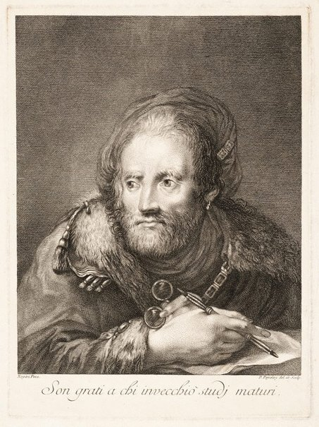 An image of An old man drawing by Pietro Peiroleri, after Giuseppe Nogari