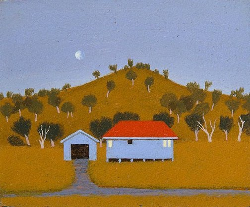 An image of House and garage at dusk by Chris O'Doherty
