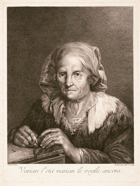 An image of An old woman with a rosary by Pietro Peiroleri, after Giuseppe Nogari