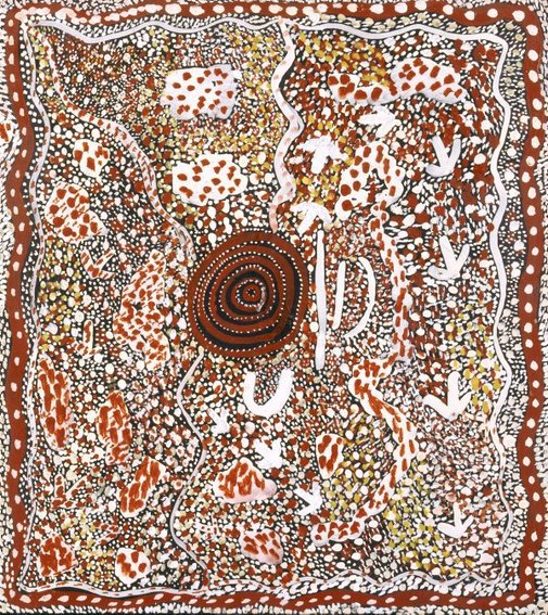 An image of Emu dreaming by Johnny Warangkula Tjupurrula