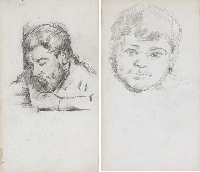 An image of recto: Émile Zola reading, verso: Head of Paul Cézanne fils