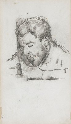 Alternate image of recto: Émile Zola reading, verso: Head of Paul Cézanne fils by Paul Cézanne
