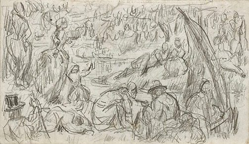 An image of recto: Imaginary scene, verso: Study of a woman and faun by Paul Cézanne