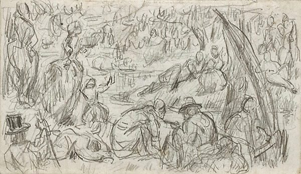 An image of recto: Imaginary scene, verso: Study of a woman and faun