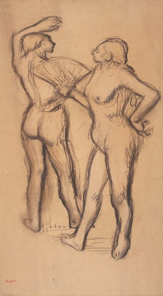 An image of Two dancers by Edgar Degas