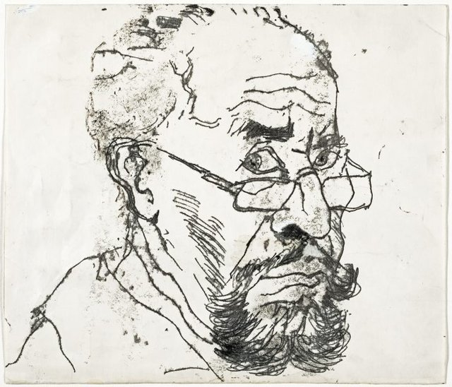 An image of recto: Self portrait verso: (self portrait)