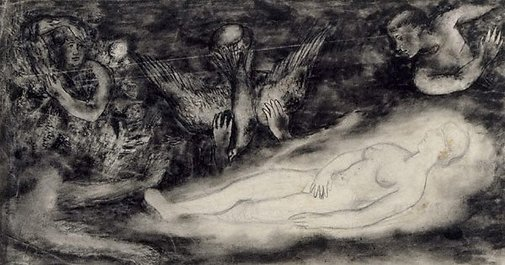 An image of Composition study for etching 'The Muse' by David Strachan