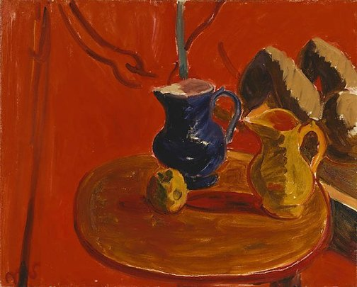 An image of Jugs against vermillion background by Sir Matthew Smith