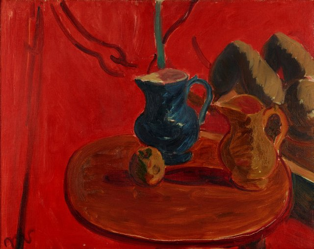 An image of Jugs against vermillion background