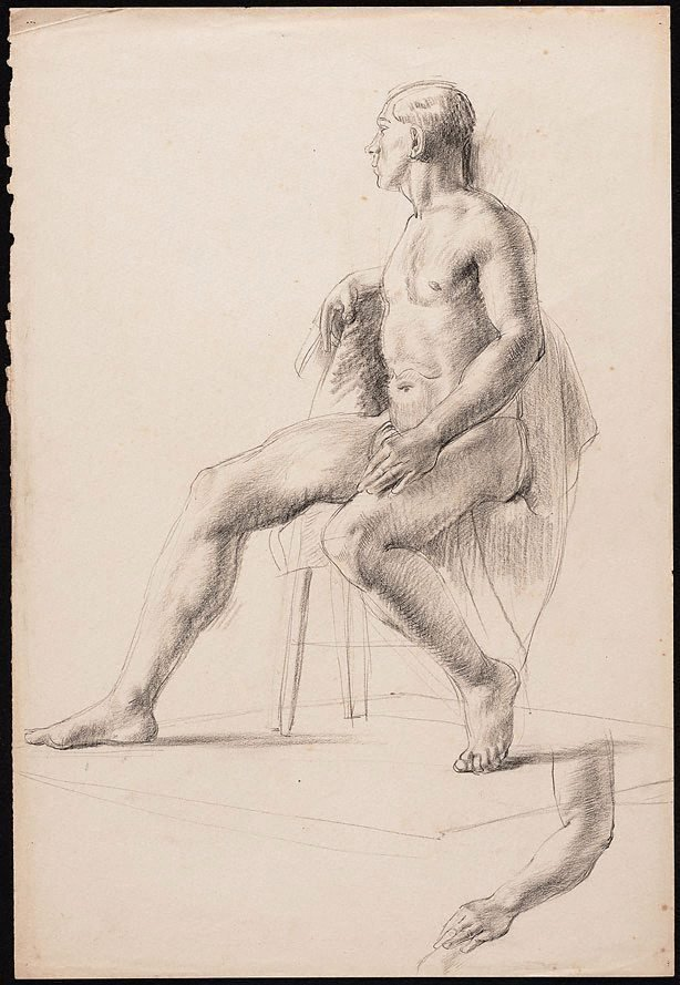An image of recto: Studies of a seated male nude in a loin cloth, London verso: Four studies of a male nude