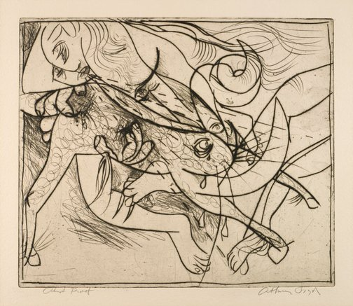 An image of Nude and beast (Europa) by Arthur Boyd