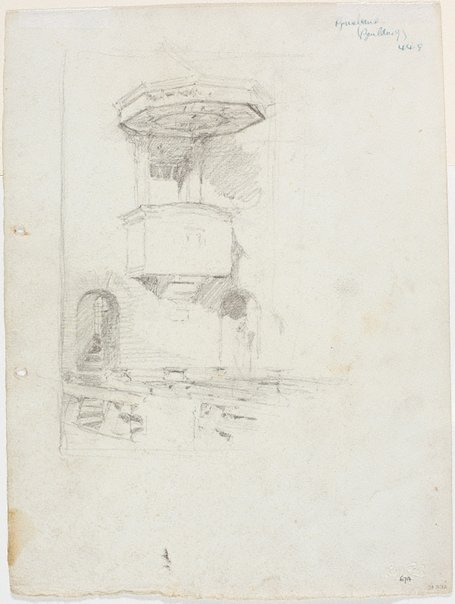 An image of recto: Study of the nave with pulpit, St Brigid's verso: Figure on terrace, St Brigid's, Red Hill and Study of the landscape from the terrace by Lloyd Rees