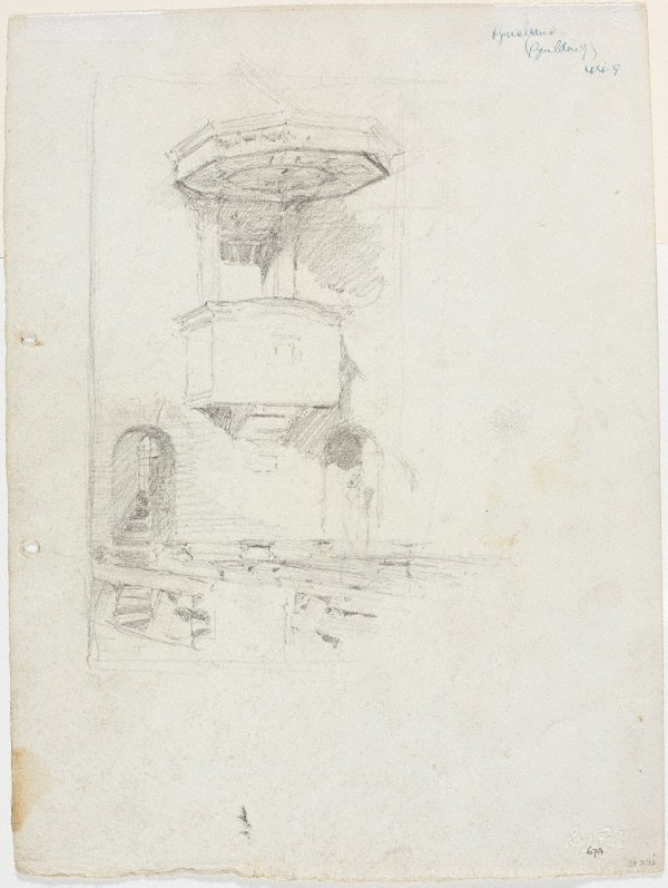 An image of recto: Study of the nave with pulpit, St Brigid's verso: Figure on terrace, St Brigid's, Red Hill and Study of the landscape from the terrace