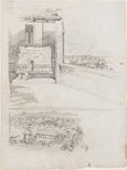 Alternate image of recto: Study of the nave with pulpit, St Brigid's verso: Figure on terrace, St Brigid's, Red Hill and Study of the landscape from the terrace by Lloyd Rees