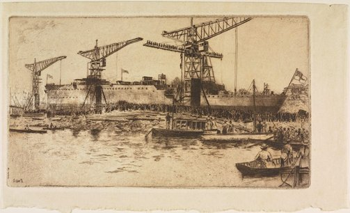 An image of The launching of the HMAS Brisbane by Sydney Ure Smith